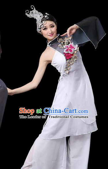Blue White Chinese Classical Dance Costumes Leotards Dance Supply Girls Clothes and Hair Accessories Complete Set