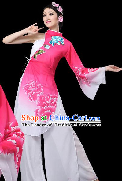 Pink Chinese Classical Dance Costumes Leotards Dance Supply Girls Clothes and Hair Accessories Complete Set