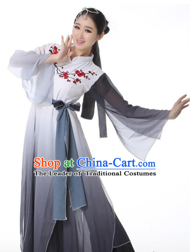 Wide Sleeves Chinese Classical Dance Costumes Leotards Dance Supply Girls Clothes and Hair Accessories Complete Set