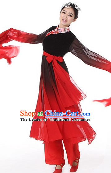 Black Red Chinese Classical Dance Costumes Leotards Dance Supply Girls Clothes and Hair Accessories Complete Set