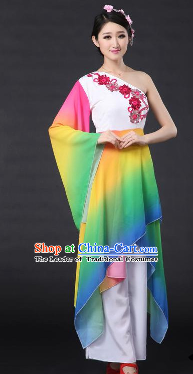 Rainbow Red Chinese Classical Dance Costumes Leotards Dance Supply Girls Clothes and Hair Accessories Complete Set