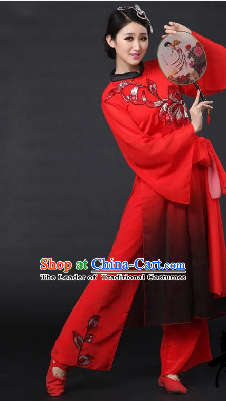 Red Chinese Classical Girls Dance Costumes Leotards Dance Supply Clothes and Hair Accessories Complete Set
