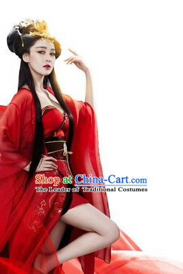 Sexy Chinese Shang Dynasty Myth Daji Su Da Ji Fox Spirit Fox Queen Costumes Chinese Costume and Hair Accessories Complete Set