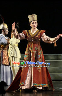 Chinese Shang Dynasty Wu Ding Emperor Costumes Chinese Costume and Crown Complete Set