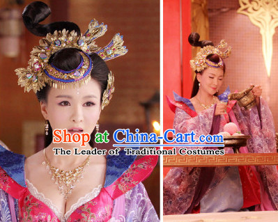 Ancient Chinese Shang Dynasty Queen Clothing Clothes Costume and Hair Jewelry Complete Set