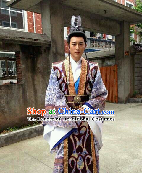 Ancient Chinese Shang Dynasty Prime Minster Costume Clothing Clothes Costume Garment Outfits and Hat Complete Set