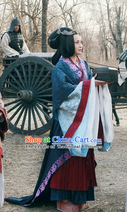 Chinese Eastern Zhou Dynasty Black Long Wigs for Women