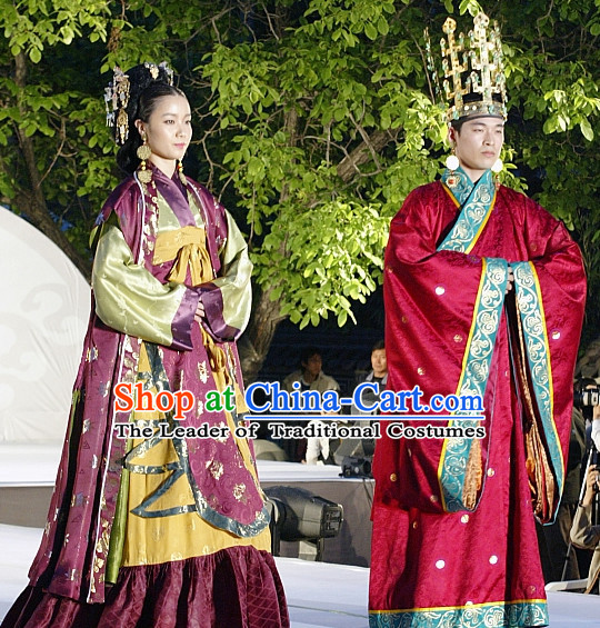 Period of the Northern and Southern Dynasties Chinese Costume Chinese Classic Costumes National Garment Outfit Clothing Clothes Emperor and Empress Costumes for Men and Women