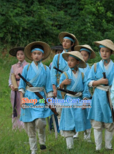 Chinese Costume Chinese Costumes National Garment Outfit Clothing Clothes Ancient Jin Dynasty Kids Suit and Bamboo Hat for Children