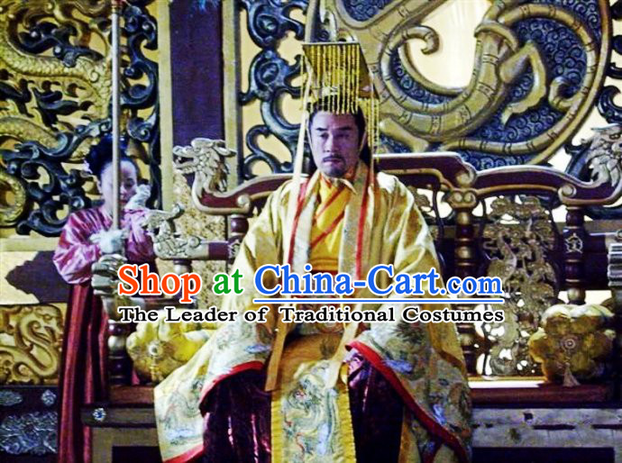 Chinese Costume Sui Dynasty Period Emperor Costumes China Clothing Complete Set for Men