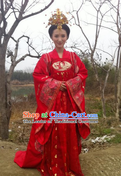 Chinese Costume Sui Dynasty Period Wedding Dress China Clothing and Hair Jewelry Complete Set for Women