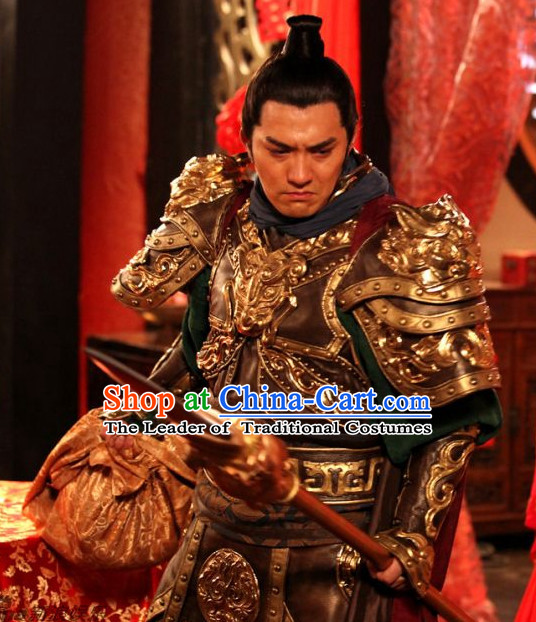 Ancient Chinese Tang Dynasty General Knight Superhero Qin Qiong Costume Complete Set for Men