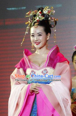 Tang Dynasty Chinese Princess Costume and Headpieces Complete Set for Women