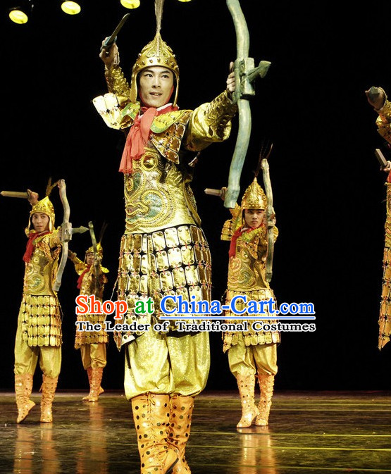 Ancient Chinese Costume Three Kingdoms Solider Dance Costume and Hat Complete Set for Men