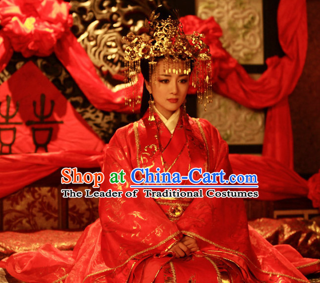 Ancient Chinese Costume Three Kingdoms Wedding Dress and Hair Accessories Complete Set for Women
