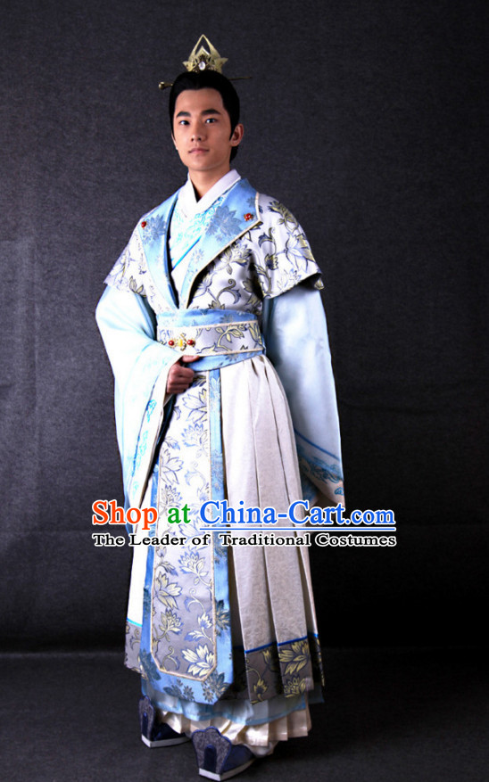 Ancient Chinese Costume Three Kingdoms Wedding Acomplished Poet and Prince Cao Zhi and Hair Accessories Complete Set for Men