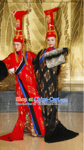 Red Yuan Dynasty Empress Princess Garment Clothing Chinese Costume Complete Set for Women