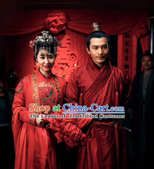 Song Dynasty Wedding Dresses Costume Costumes Dresses Clothing Clothes Garment Outfits Suits Complete Set for Men and Women