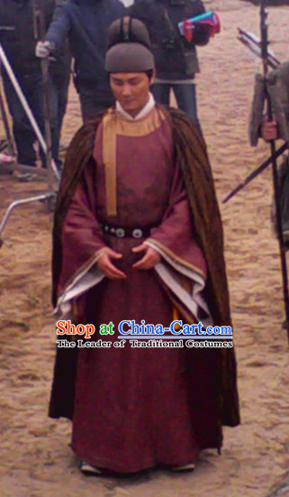 Song Dynasty Li Gang Chancellor Official Costume Costumes Dresses Clothing Clothes Garment Outfits Suits Complete Set for Men
