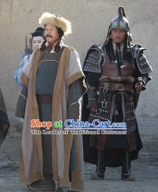 Yuan Dynasty Cheng Ji Si Han Genghis Khan Costumes Dresses Clothing Clothes Garment Outfits Suits Complete Set for Men