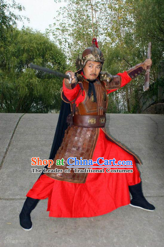 Ming Dynasty General Zhu Li Costumes Dresses Clothing Clothes Garment Outfits Suits Complete Set for Men
