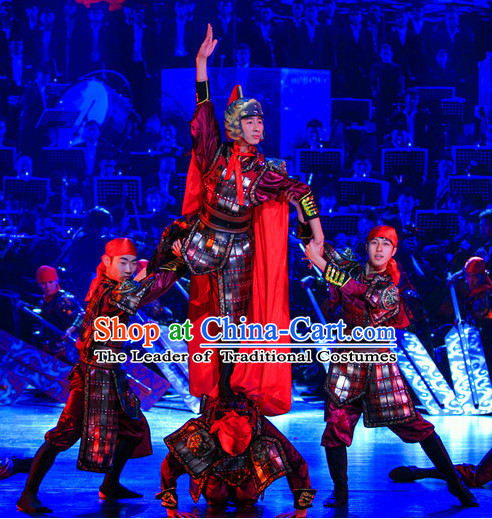 Ming Dynasty Opera Warrior Costumes Dresses Clothing Clothes Garment Outfits Suits Complete Set for Men