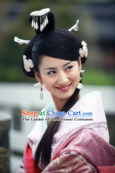 Chinese Han Dynasty Palace Princess Wigs and Hair Accessories for Women