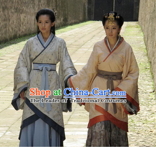 Chinese Han Dynasty Noblewomen Clothing Costumes Dresses Clothing Clothes Garment Outfits Suits Complete Set for Women
