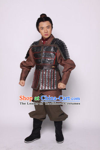 Chinese Han Dynasty Solider Warrior Knight Costumes Dresses Clothing Clothes Garment Outfits Suits Complete Set for Men