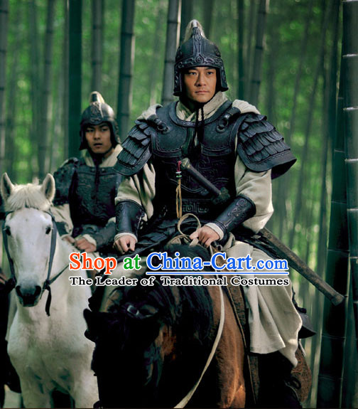 Chinese Han Dynasty Military General Zhang Liang Costumes Dresses Clothing Clothes Garment Outfits Suits Complete Set for Men