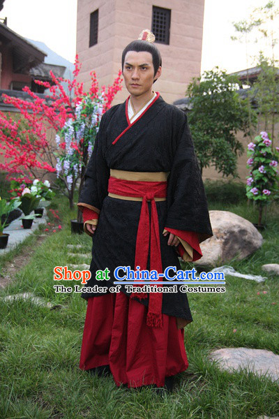Chinese Han Dynasty Gnereal Ban Gu Costumes Dresses Clothing Clothes Garment Outfits Suits Complete Set for Men