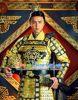 798f12f90 Chinese Qin Dynasty Emperor Han Wudi Armor Costumes Dresses Clothing Clothes  Garment Outfits Suits Complete Set