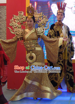Chinese Qin Dynasty Princess Stage Opera Dance Costumes Dresses Clothing Clothes Garment Outfits Suits Complete Set for Women