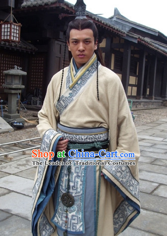 Chinese Qin Dynasty Clothing Costumes Dresses Clothing Clothes Garment Outfits Suits Complete Set for Men