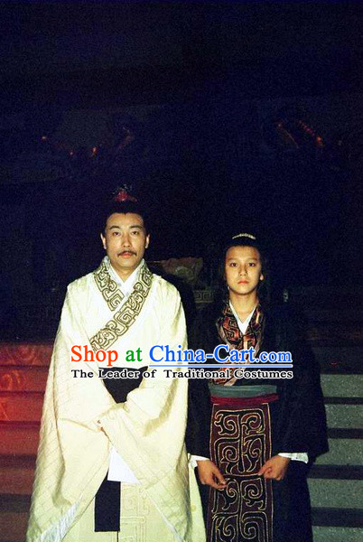 Chinese Qin Dynasty Offiicial Chancellor Prime Minster Costume Dresses Clothing Clothes Garment Outfits Suits Complete Set for Men