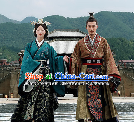 Chinese Han Dynasty Emperor and Empress Costume Dresses Clothing Clothes Garment Outfits Suits Complete Set for men and Women