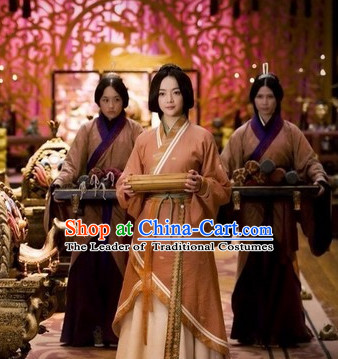 Chinese Qin Dynasty Palace Maid Costume Dresses Clothing Clothes Garment Outfits Suits and Hair Jewelry Complete Set for Women