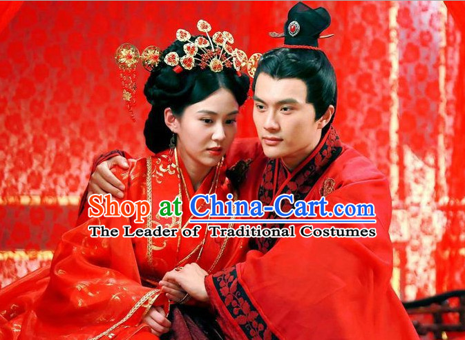 Chinese Traditional Wedding Wig and Headwear Headpieces for Brides and Bridegrooms