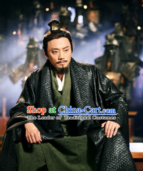 Chinese Qin Dynasty Chen Sheng Wu Guang Costumes General Costume Dresses Clothing Clothes Garment Outfits Suits Complete Set for Men