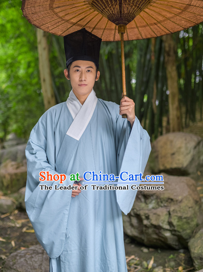 Chinese Traditional Ming Dynasty Scholar Costumes and Hat Complete Set for Men