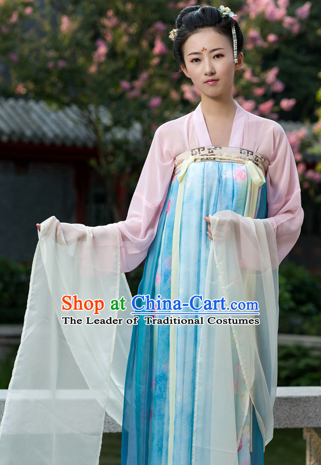 Tang Dynasty Ancient Chinese People Suit and Headpieces Complete Set for Women