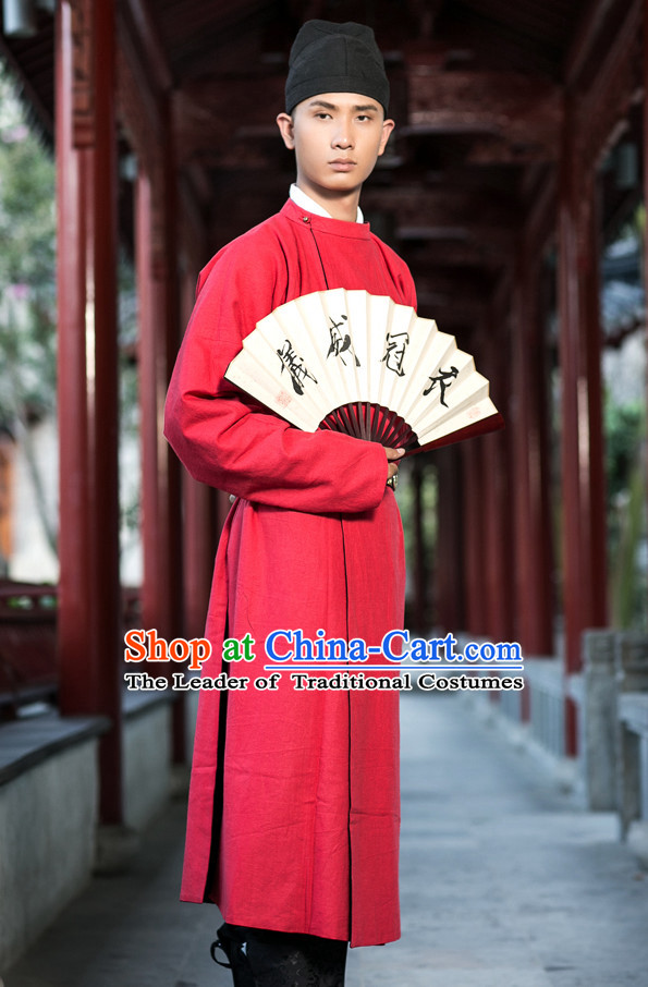 Tang Dynasty Ancient Chinese People Garments and Headpieces Complete Set for Men