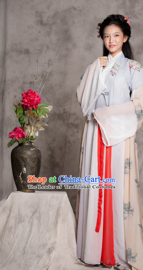 Chinese Ancient Female Hanfu Outfits and Hair Accessories Complete Set