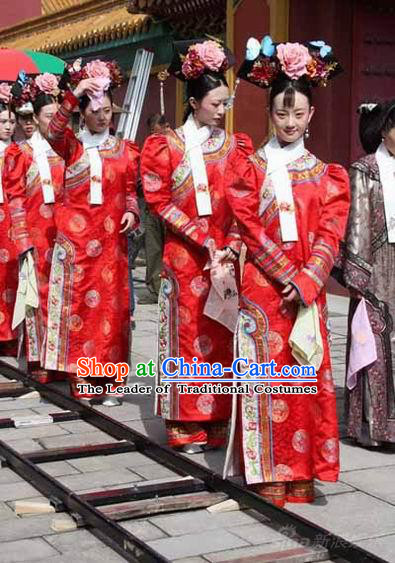 Qing Dynasty Imperial Lady Red Garment and Hair Jewelry Complete Set