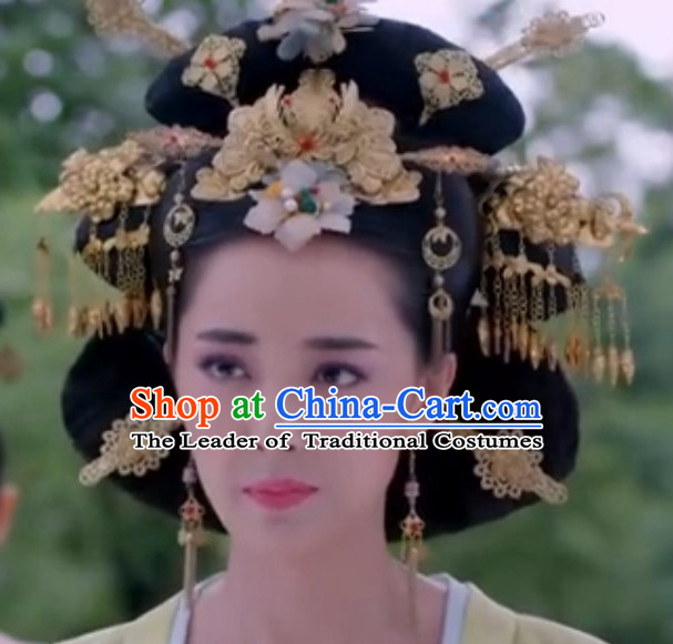 Chinese Ancient Style Queen Wigs and Hair Jewelry Accessories Hairpins Headwear Headdress Hair Fascinators for Women