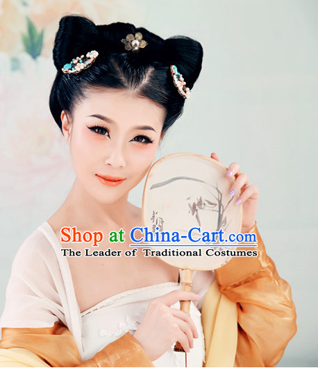 Chinese Imperial Lady Black Long Wigs and Headwear Headpieces Hair Jewelry Headdress for Women