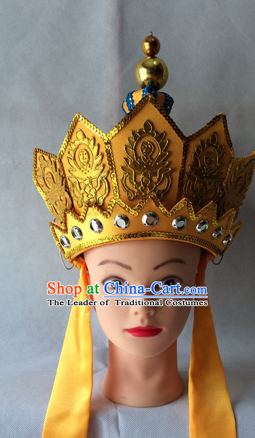 Chinese Opera Tang Seng Monk Hat Helmet Hat Headwear Headpieces Headdress for Men
