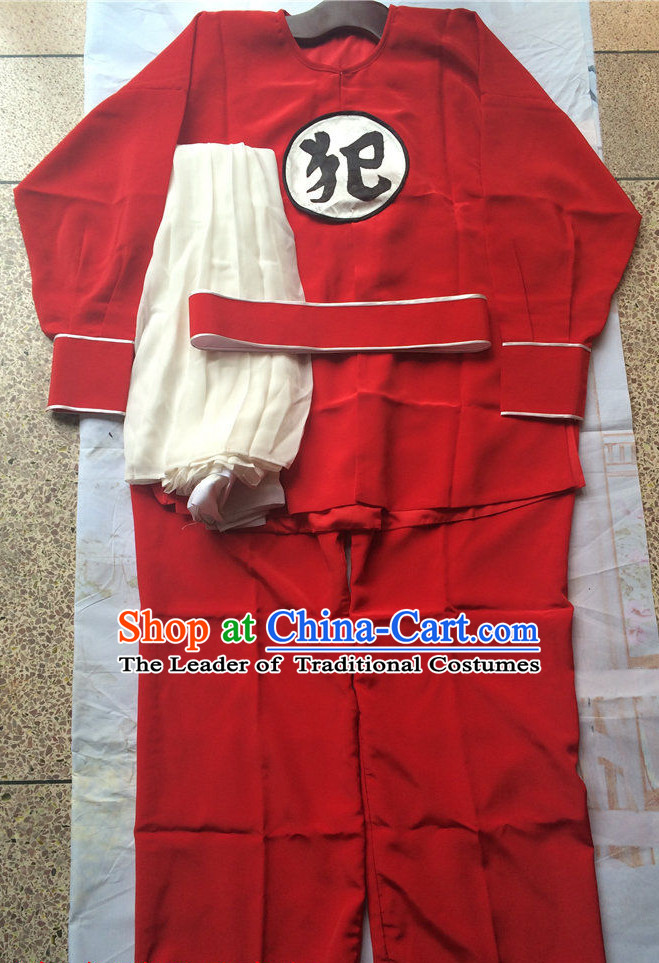 Chinese Opera Criminal Prisoner Costumes Complete Set