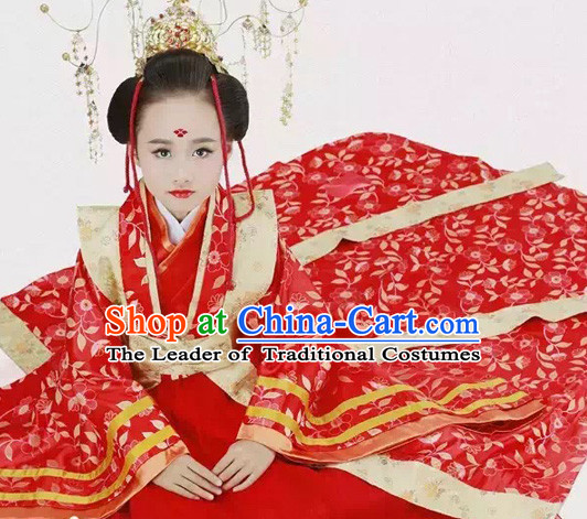 Tang Dynasty Chinese Empress Costume Ancient China Ethnic Costumes Han Fu Dress Wear Outfits Suits Clothing for Kids