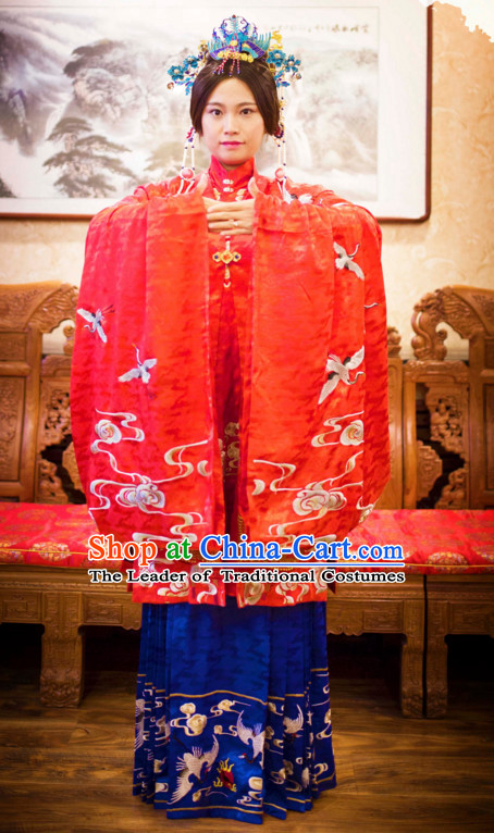 Ming Dynasty Ancient Chinese Costumes Classic Clothing Clothes Garment Outfits Dance Wear Embroidered Crane Wedding Dresses and Hair Jewelry for Women